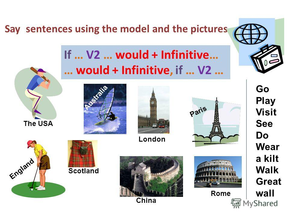Say sentences using the model and the pictures If … V2 … would + Infinitive… … would + Infinitive, if … V2 … The USA England Paris Australia London Go Play Visit See Do Wear a kilt Walk Great wall Scotland Rome China