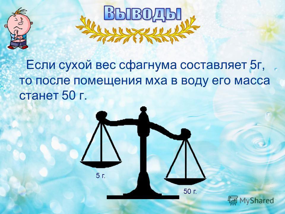 Если сухой вес сфагнума составляет 5г, то после помещения мха в воду его масса станет 50 г. 5 г. 50 г.