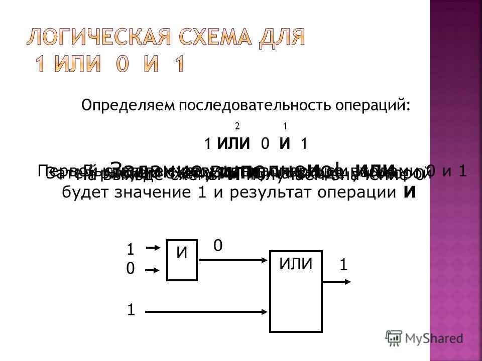 Определяем последовательность операций: 2 1 1 ИЛИ 0 И 1 И ИЛИ 1010 Первой ставим схему операции И со входами 0 и 1 1 0 1 На выходе схемы И получаем значение 0 Затем рисуем схему ИЛИ, на входе у которой будет значение 1 и результат операции И Вычисляе