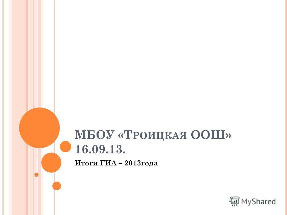 МБОУ «Т РОИЦКАЯ ООШ» 16.09.13. Итоги ГИА – 2013года