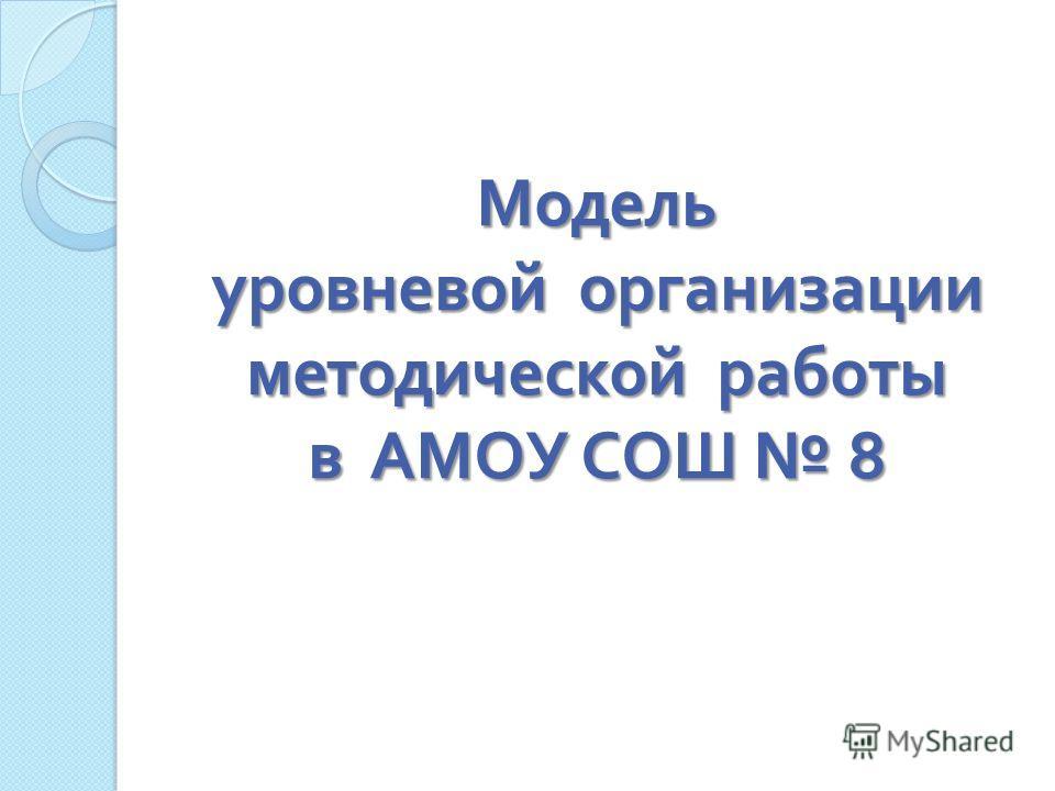 Модель уровневой организации методической работы в АМОУ СОШ 8