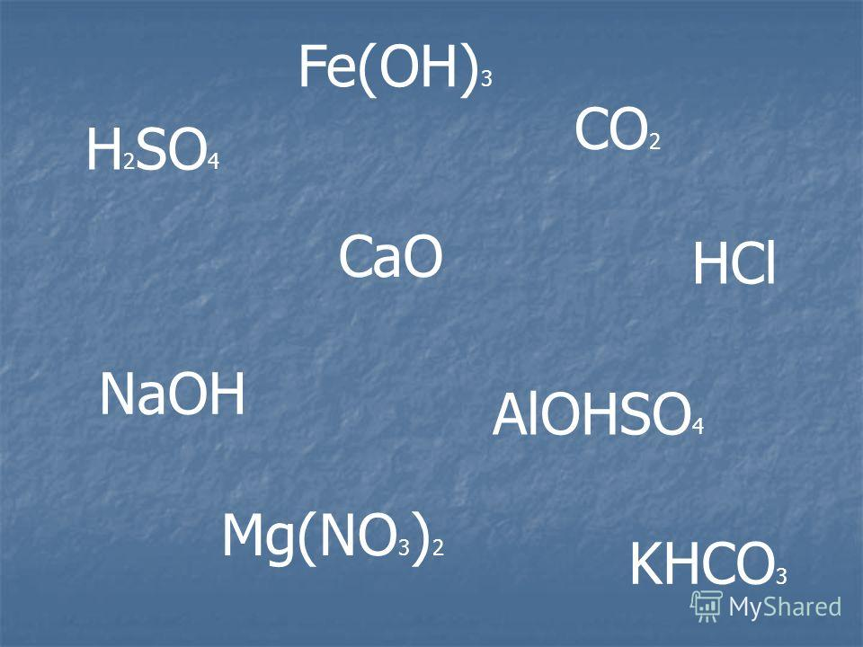 Н 2 SO 4 CaO CO 2 NaOH Mg(NO 3 ) 2 AlOHSO 4 KHCO 3 Fe(OH) 3 HCl