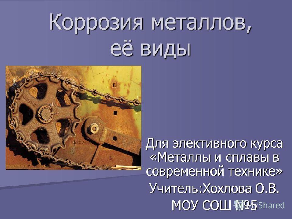 Коррозия металлов, её виды Для элективного курса «Металлы и сплавы в современной технике» Учитель:Хохлова О.В. МОУ СОШ 5