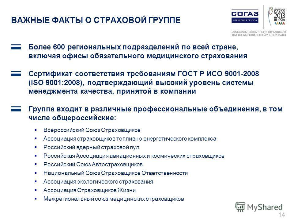 ВАЖНЫЕ ФАКТЫ О СТРАХОВОЙ ГРУППЕ Более 600 региональных подразделений по всей стране, включая офисы обязательного медицинского страхования Сертификат соответствия требованиям ГОСТ Р ИСО 9001-2008 (ISO 9001:2008), подтверждающий высокий уровень системы