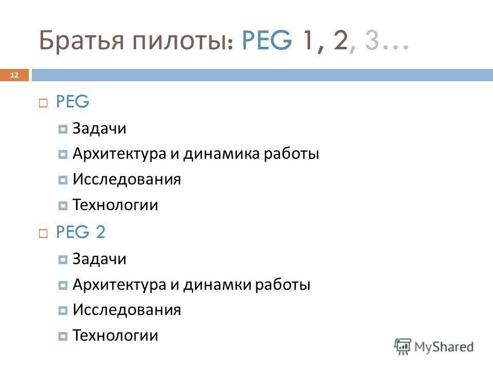 Братья пилоты : PEG 1, 2, 3… PEG Задачи Архитектура и динамика работы Исследования Технологии PEG 2 Задачи Архитектура и динамки работы Исследования Технологии 12