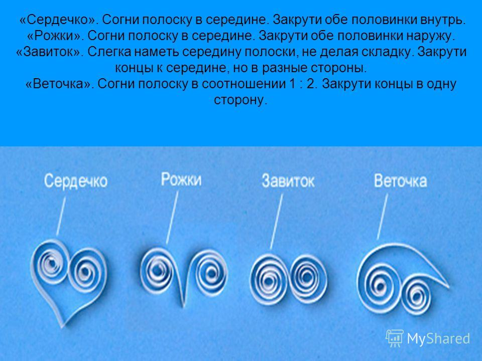 «Сердечко». Согни полоску в середине. Закрути обе половинки внутрь. «Рожки». Согни полоску в середине. Закрути обе половинки наружу. «Завиток». Слегка наметь середину полоски, не делая складку. Закрути концы к середине, но в разные стороны. «Веточка»