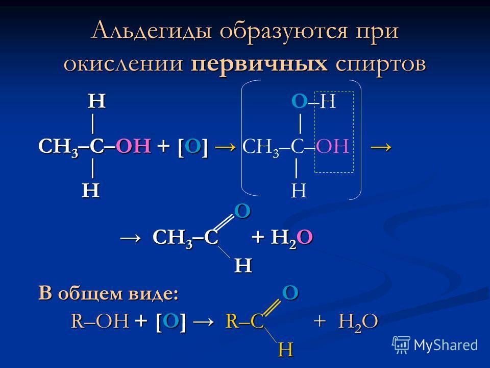 Альдегиды образуются при окислении первичных спиртов Н Н О–Н СН 3 –С–ОН + [О] СН 3 –С–ОН + [О] СН 3 –С–ОН Н Н Н О СН 3 –С + Н 2 О СН 3 –С + Н 2 О Н В общем виде: O R–OH + [О] R–C + Н 2 О R–OH + [О] R–C + Н 2 О H