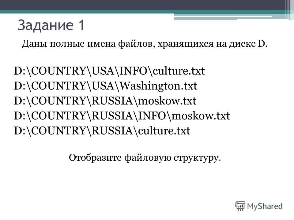 Даны полные имена файлов, хранящихся на диске D. D:\COUNTRY\USA\INFO\culture.txt D:\COUNTRY\USA\Washington.txt D:\COUNTRY\RUSSIA\moskow.txt D:\COUNTRY\RUSSIA\INFO\moskow.txt D:\COUNTRY\RUSSIA\culture.txt Отобразите файловую структуру. Задание 1