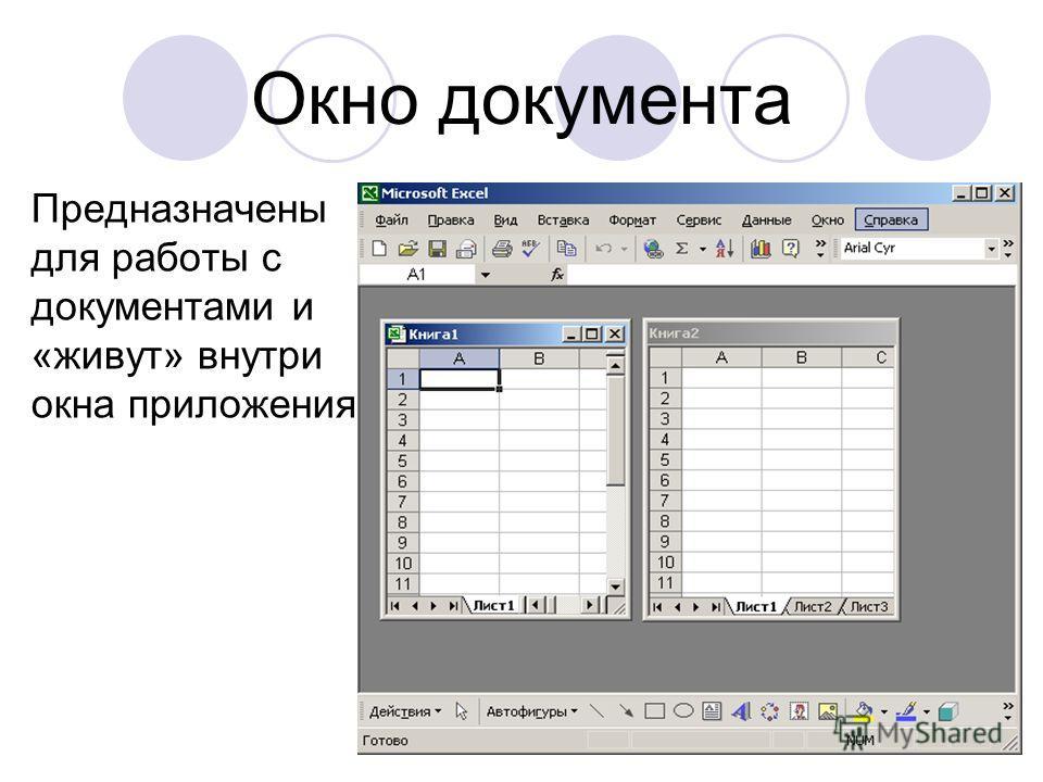 Окно документа Предназначены для работы с документами и «живут» внутри окна приложения.