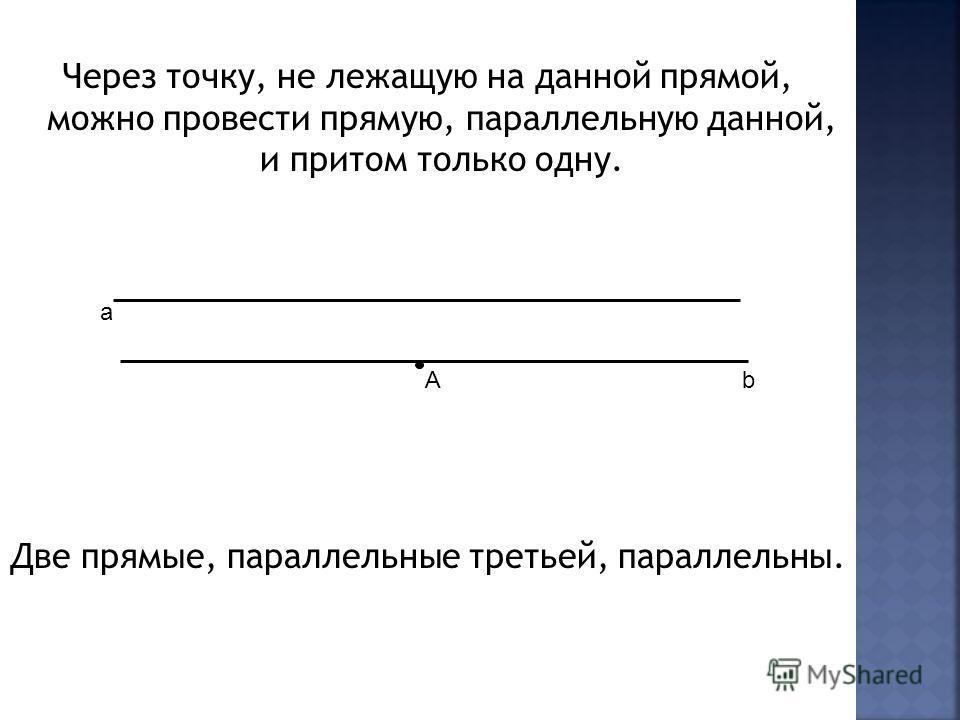 Через точку, не лежащую на данной прямой, можно провести прямую, параллельную данной, и притом только одну. Две прямые, параллельные третьей, параллельны. a bА
