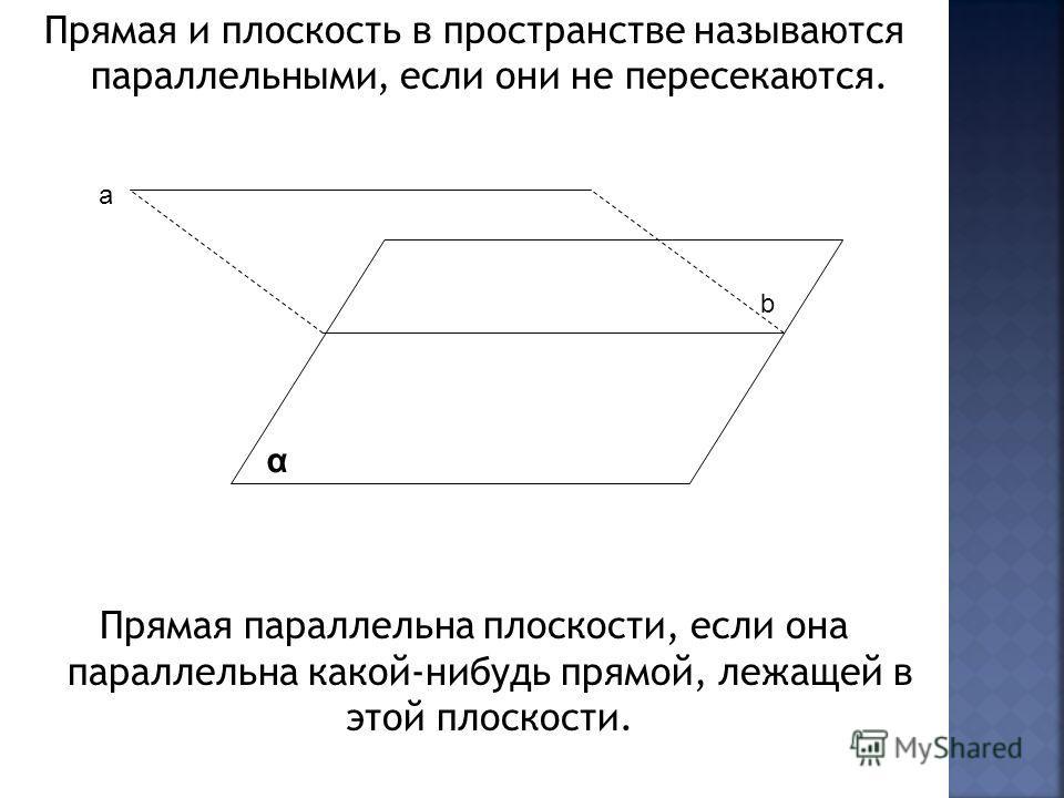 Прямая и плоскость в пространстве называются параллельными, если они не пересекаются. Прямая параллельна плоскости, если она параллельна какой-нибудь прямой, лежащей в этой плоскости. α а b