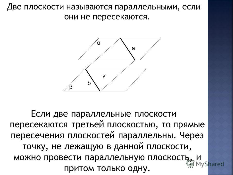 Две плоскости называются параллельными, если они не пересекаются. Если две параллельные плоскости пересекаются третьей плоскостью, то прямые пересечения плоскостей параллельны. Через точку, не лежащую в данной плоскости, можно провести параллельную п
