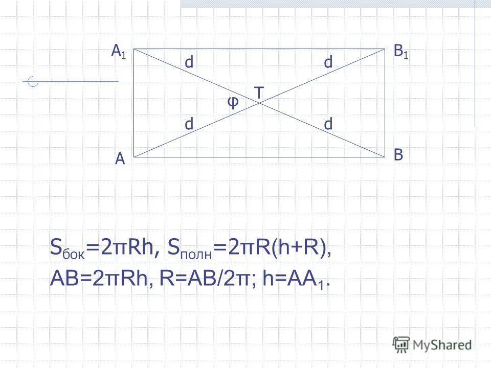 S бок =2 π Rh, S полн =2 πR(h+R), AB=2πRh, R=AB/2π; h=AA 1. φ d d T A A1A1 B B1B1 d d