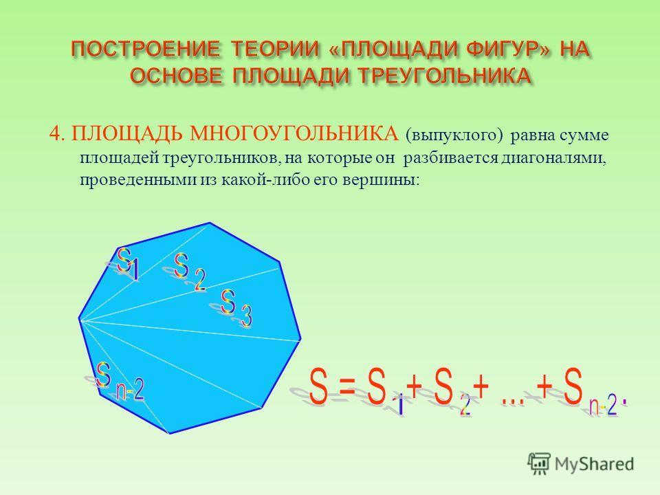 4. ПЛОЩАДЬ МНОГОУГОЛЬНИКА ( выпуклого ) равна сумме площадей треугольников, на которые он разбивается диагоналями, проведенными из какой - либо его вершины :