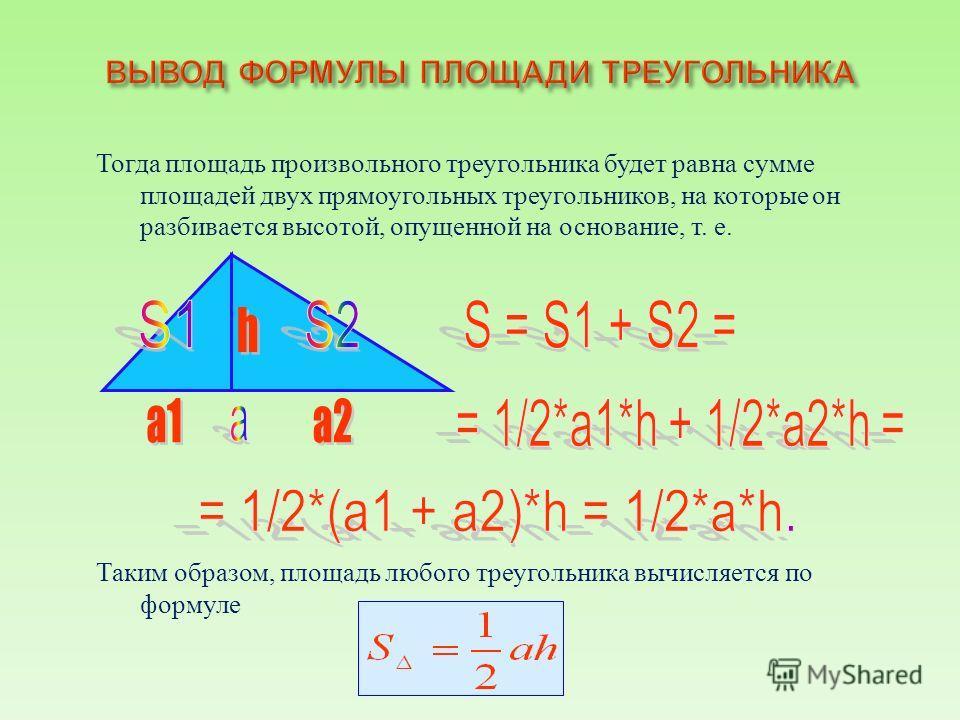 Тогда площадь произвольного треугольника будет равна сумме площадей двух прямоугольных треугольников, на которые он разбивается высотой, опущенной на основание, т. е. Таким образом, площадь любого треугольника вычисляется по формуле