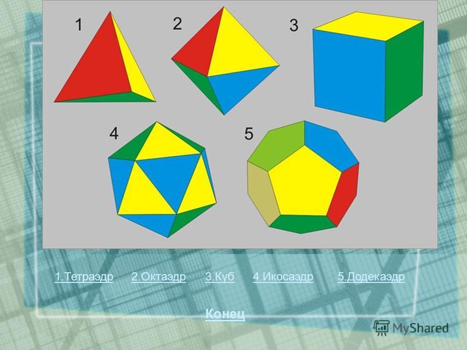1.Тетраэдр2.Октаэдр3.Куб4.Икосаэдр5.Додекаэдр Конец