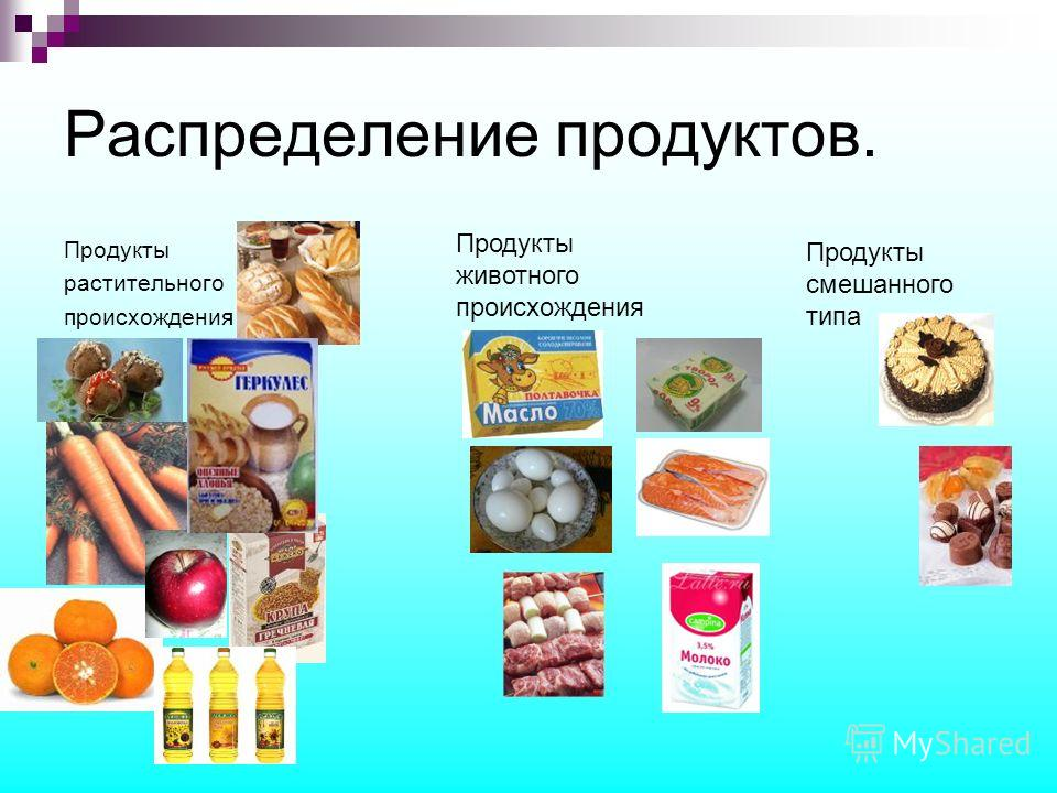 Распределение продуктов. Продукты растительного происхождения Продукты животного происхождения Продукты смешанного типа