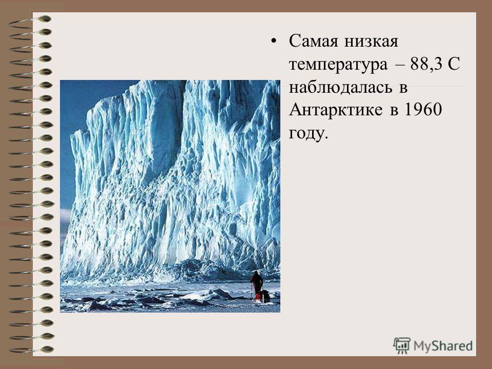 Самая низкая температура – 88,3 С наблюдалась в Антарктике в 1960 году.
