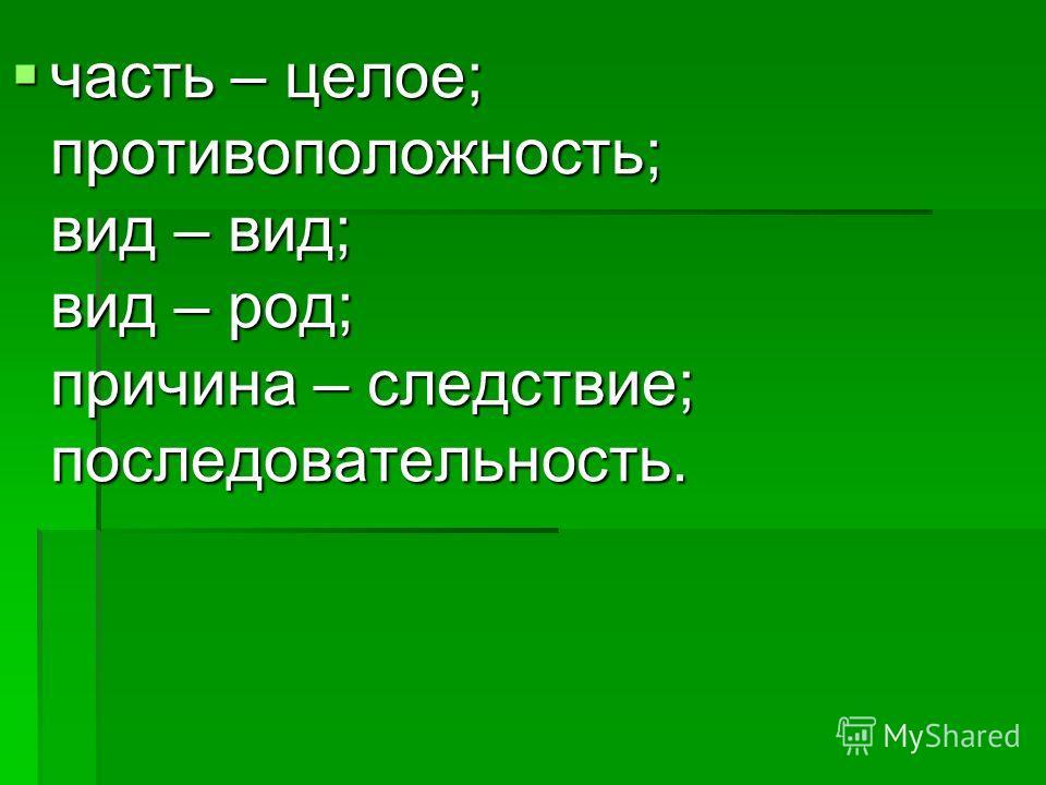 часть – целое; противоположность; вид – вид; вид – род; причина – следствие; последовательность. часть – целое; противоположность; вид – вид; вид – род; причина – следствие; последовательность.
