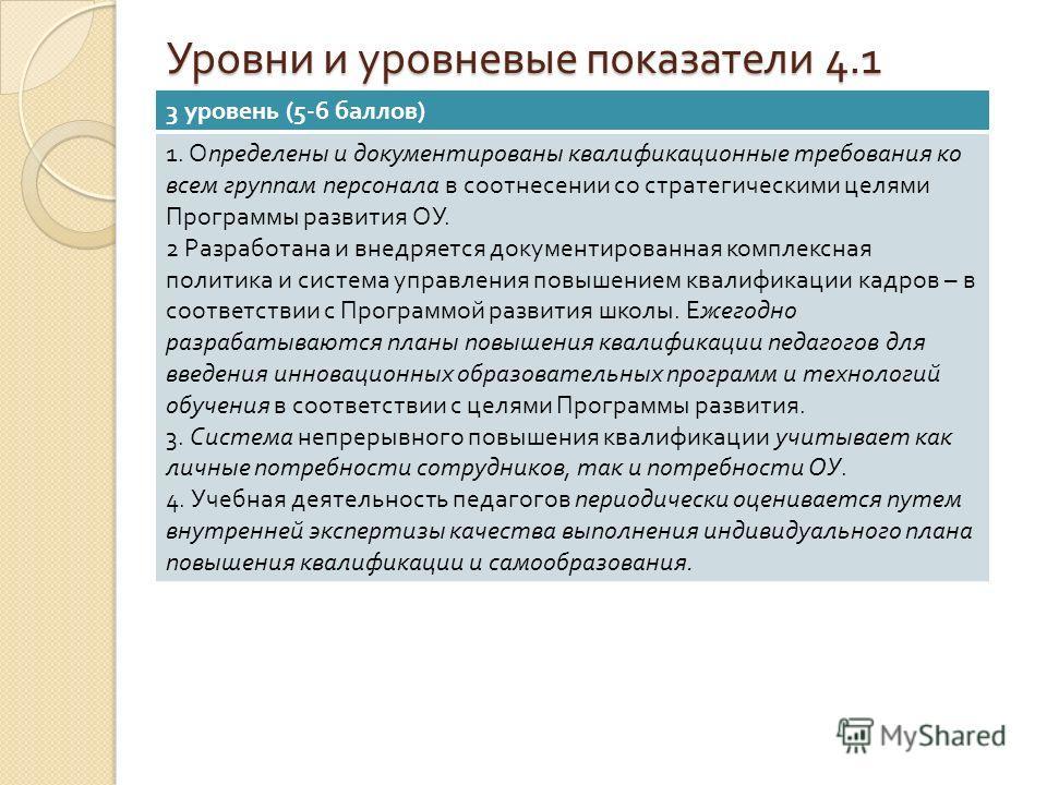 Уровни и уровневые показатели 4.1 3 уровень (5-6 баллов ) 1. Определены и документированы квалификационные требования ко всем группам персонала в соотнесении со стратегическими целями Программы развития ОУ. 2 Разработана и внедряется документированна
