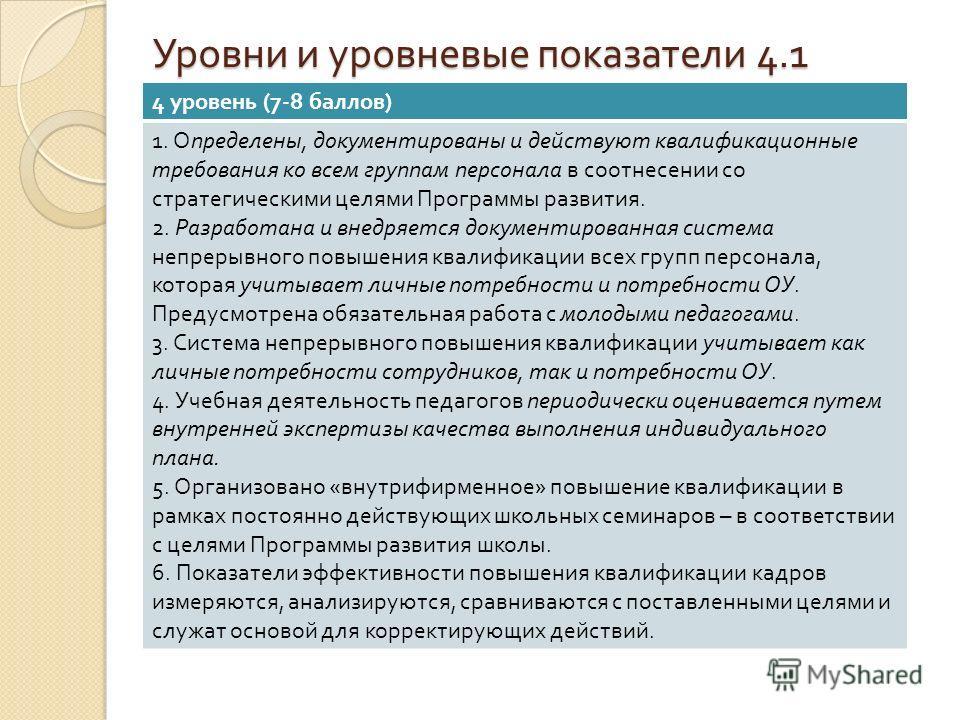 Уровни и уровневые показатели 4.1 4 уровень (7-8 баллов ) 1. Определены, документированы и действуют квалификационные требования ко всем группам персонала в соотнесении со стратегическими целями Программы развития. 2. Разработана и внедряется докумен