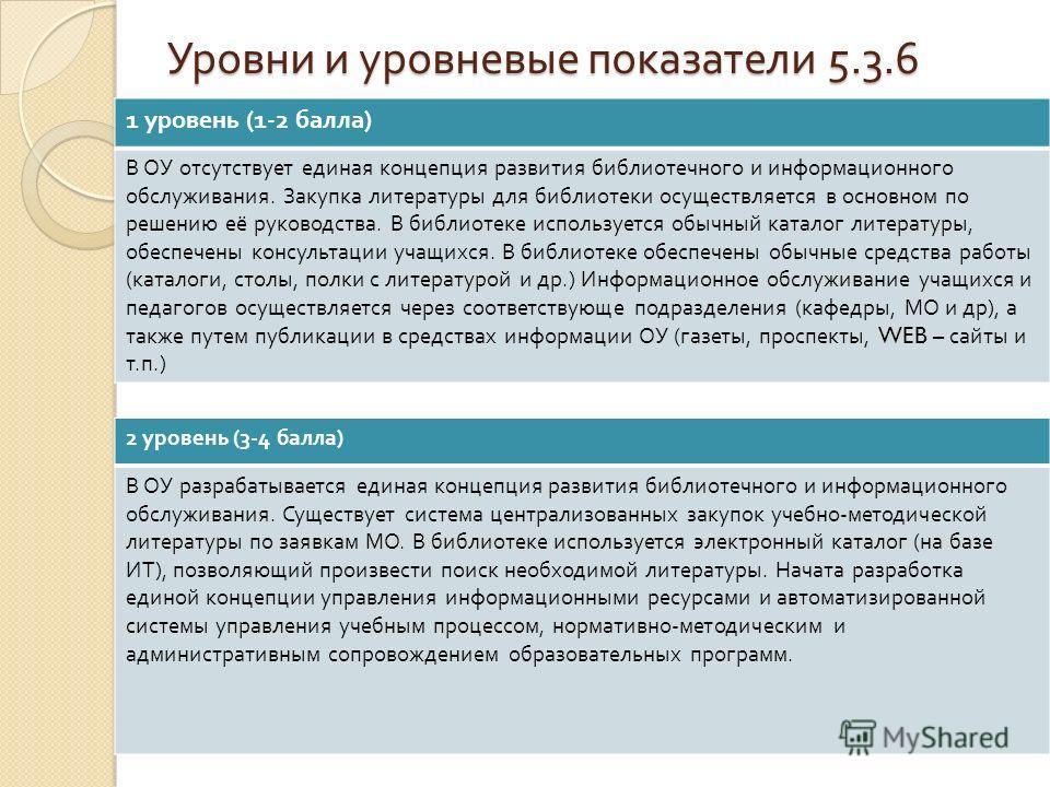 Уровни и уровневые показатели 5.3.6 1 уровень (1-2 балла ) В ОУ отсутствует единая концепция развития библиотечного и информационного обслуживания. Закупка литературы для библиотеки осуществляется в основном по решению её руководства. В библиотеке ис