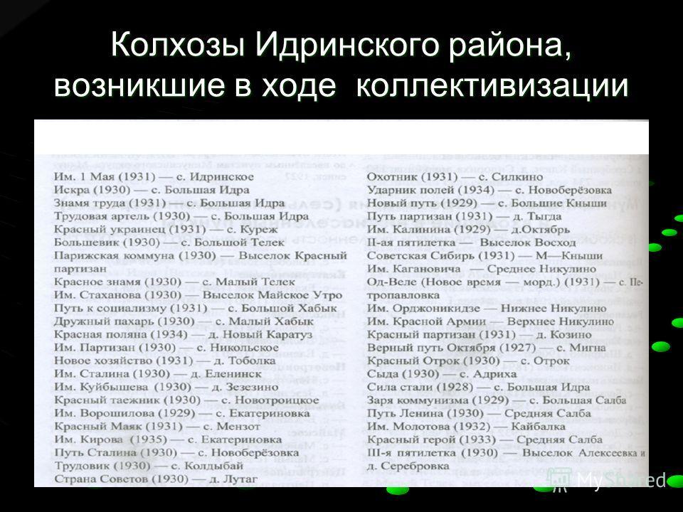 Колхозы Идринского района, возникшие в ходе коллективизации