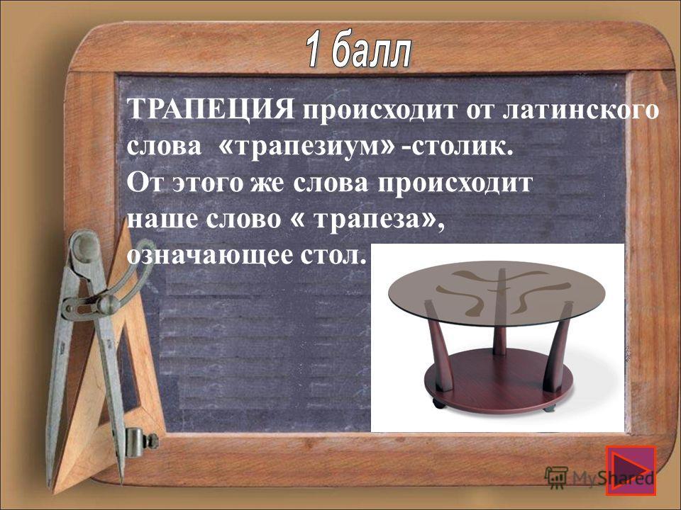 Название какой фигуры в переводе с греческого языка означает «обеденный столик»?