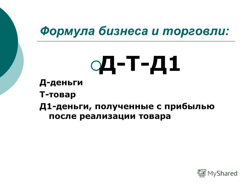 Формула бизнеса и торговли: Д-Т-Д1 Д-деньги Т-товар Д1-деньги, полученные с прибылью после реализации товара