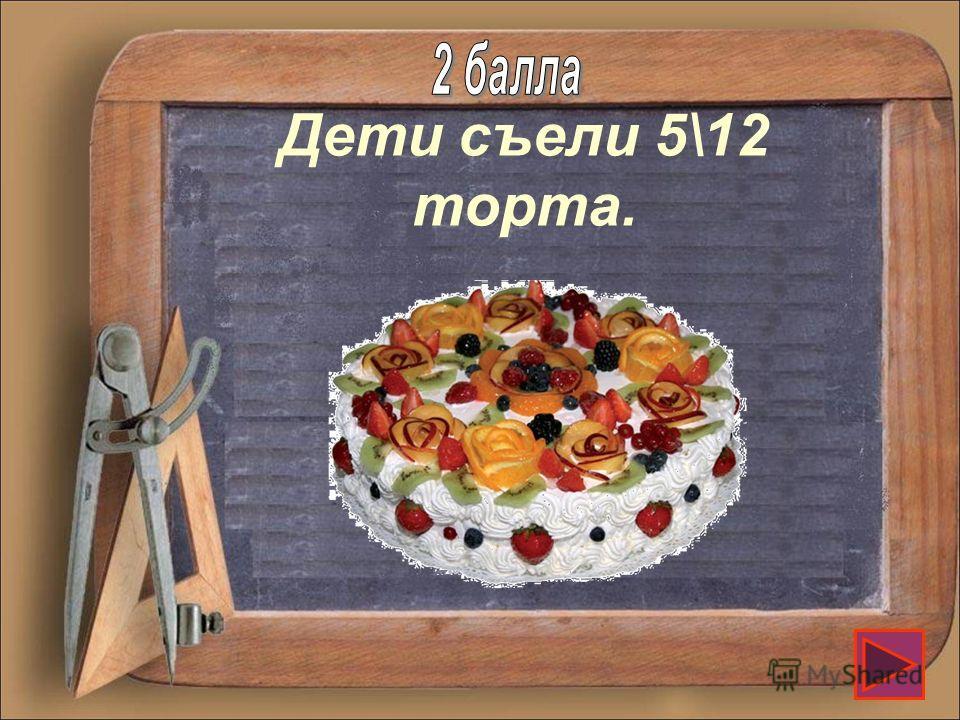 Торт разрезали на 12 кусков. Маша съела 3 куска, а Ваня 2 куска. Какую часть торта съели дети?