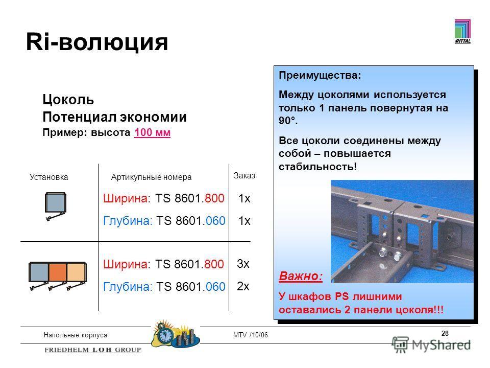 28 Напольные корпусаMTV /10/06 Цоколь Потенциал экономии Пример: высота 100 мм УстановкаАртикульные номера Заказ Ширина: TS 8601.800 Глубина: TS 8601.060 Ширина: TS 8601.800 Глубина: TS 8601.060 1x 3x 2x Преимущества: Между цоколями используется толь