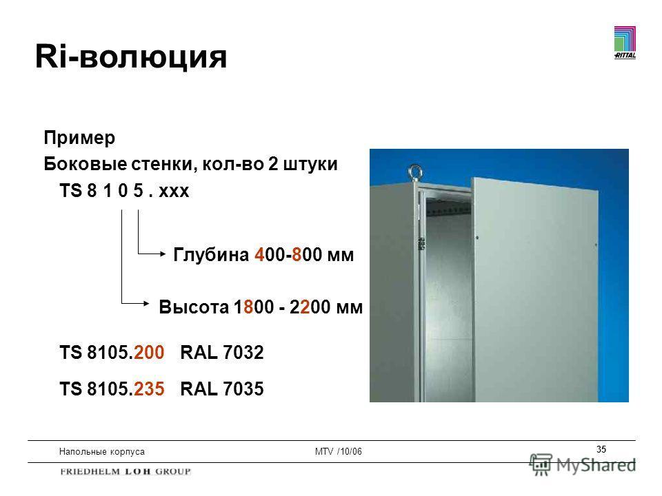 35 Напольные корпусаMTV /10/06 Пример Боковые стенки, кол-во 2 штуки TS 8 1 0 5. xxx Глубина 400-800 мм Высота 1800 - 2200 мм TS 8105.200 RAL 7032 TS 8105.235 RAL 7035 Ri-волюция