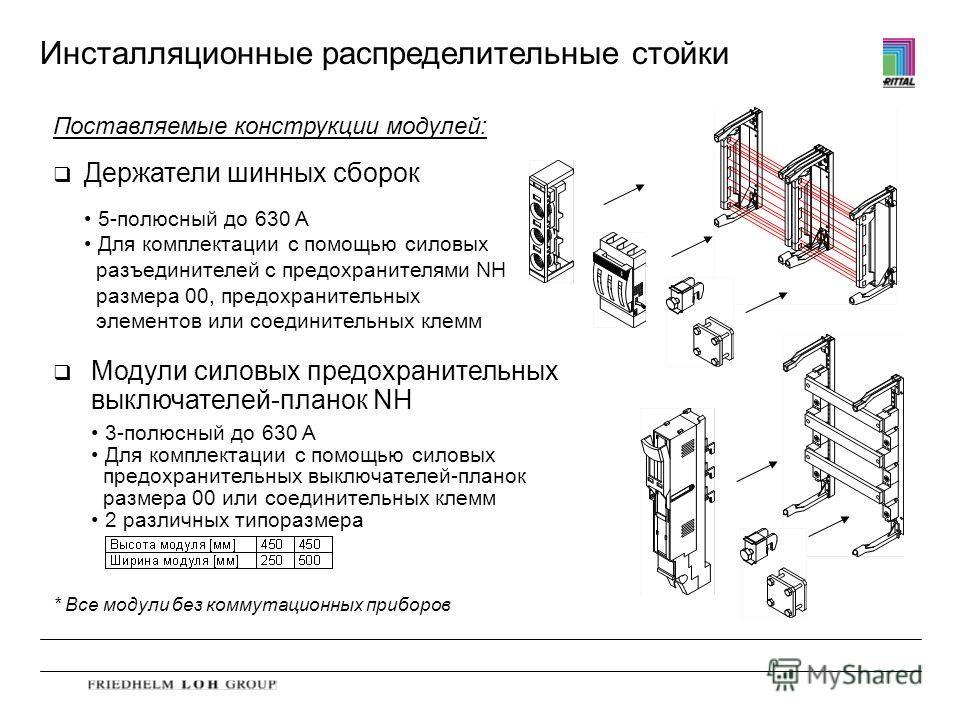Инсталляционные распределительные стойки Поставляемые конструкции модулей: q Держатели шинных сборок q Модули силовых предохранительных выключателей-планок NH * Все модули без коммутационных приборов 5-полюсный до 630 A Для комплектации с помощью сил