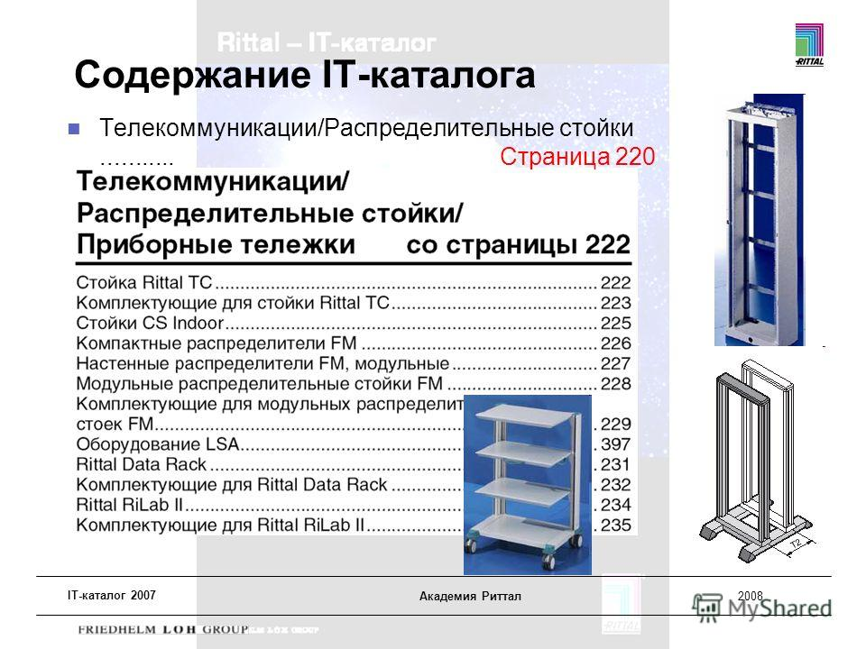 IT-каталог 2007 Академия Риттал2008 Содержание IT-каталога Телекоммуникации/Распределительные стойки........... Страница 220