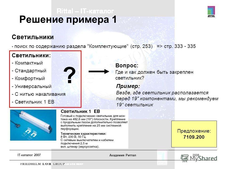 IT-каталог 2007 Академия Риттал2008 Решение примера 1 Светильники - поиск по содержанию раздела