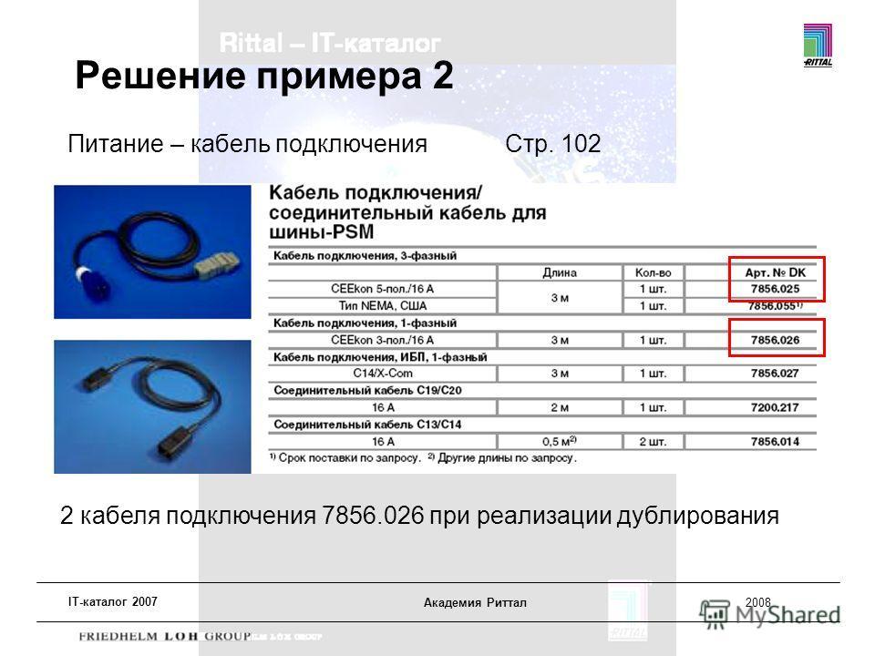 IT-каталог 2007 Академия Риттал2008 Решение примера 2 Питание – кабель подключенияСтр. 102 2 кабеля подключения 7856.026 при реализации дублирования