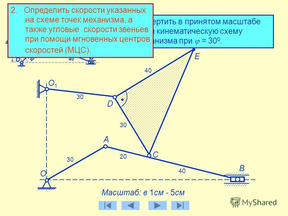 1. Начертить в принятом масштабе длин кинематическую схему механизма при = 30 0. А Масштаб: в 1см - 5см B C О1О1 О D E B О C D А E О1О1 30 40 20 40 30 20 40 30 40 30