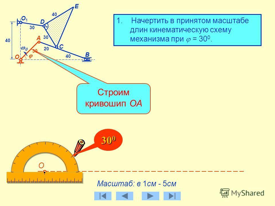 B О C D А E О1О1 30 40 20 40 1. Начертить в принятом масштабе длин кинематическую схему механизма при = 30 0. Выбираем масштаб длин Масштаб: в 1см - 5см