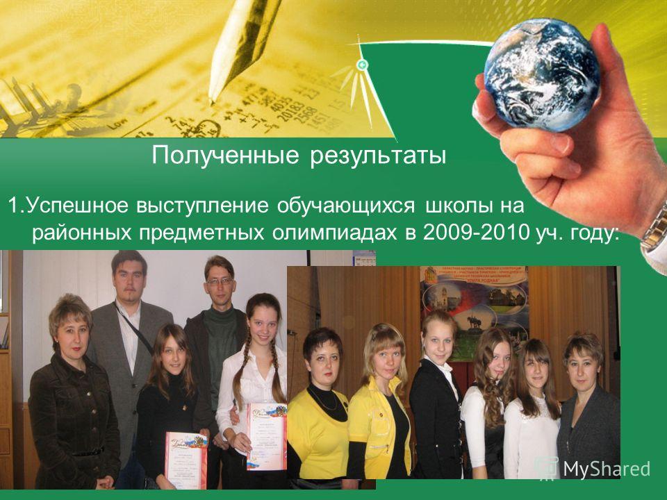 Полученные результаты 1.Успешное выступление обучающихся школы на районных предметных олимпиадах в 2009-2010 уч. году: