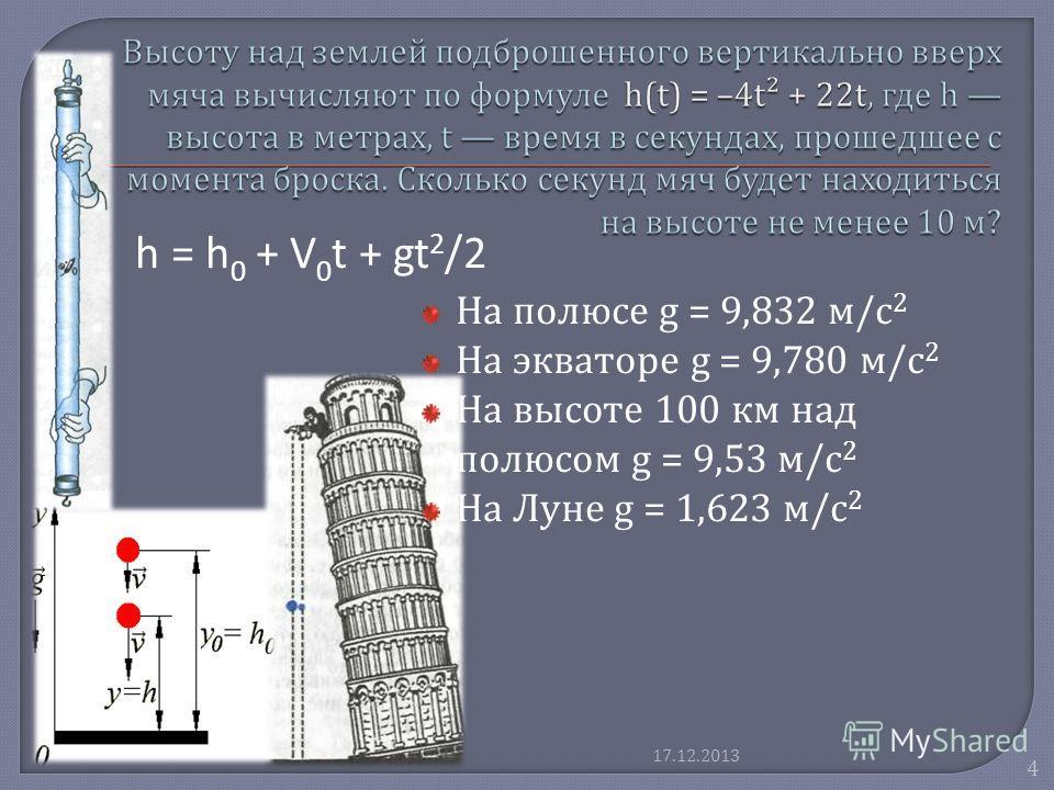 На полюсе g = 9,832 м / с 2 На экваторе g = 9,780 м / с 2 На высоте 100 км над полюсом g = 9,53 м / с 2 На Луне g = 1,623 м / с 2 h = h 0 + V 0 t + gt 2 /2 4 17.12.2013