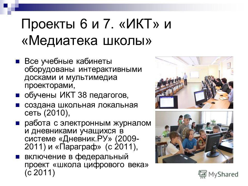 Проекты 6 и 7. «ИКТ» и «Медиатека школы» Все учебные кабинеты оборудованы интерактивными досками и мультимедиа проекторами, обучены ИКТ 38 педагогов, создана школьная локальная сеть (2010), работа с электронным журналом и дневниками учащихся в систем