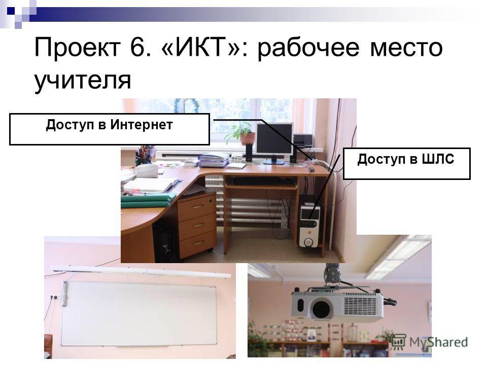 Проект 6. «ИКТ»: рабочее место учителя Доступ в Интернет Доступ в ШЛС
