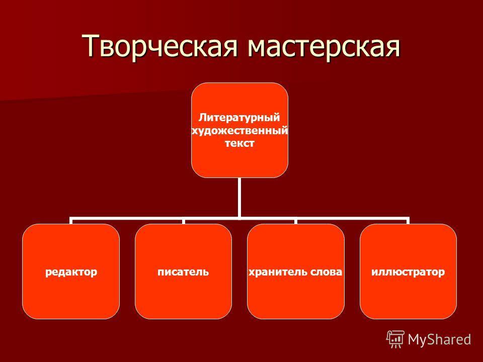 Творческая мастерская Литературный художественный текст редакторписательхранитель словаиллюстратор