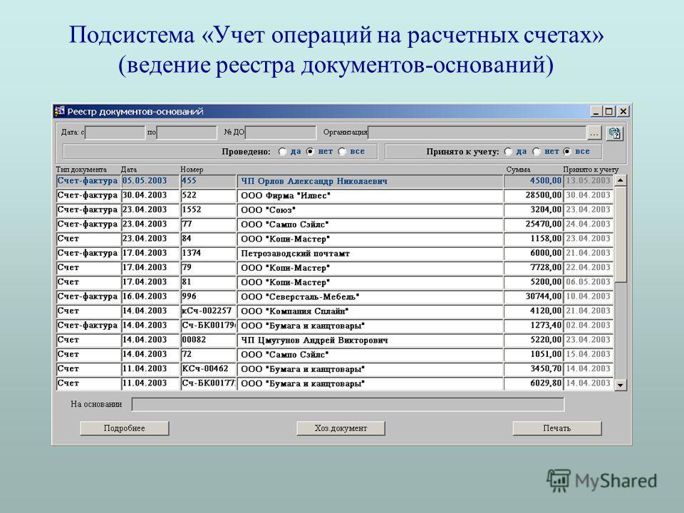 Подсистема «Учет операций на расчетных счетах» (ведение реестра документов-оснований)