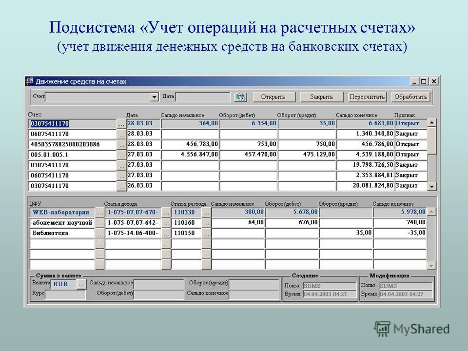 Подсистема «Учет операций на расчетных счетах» (учет движения денежных средств на банковских счетах)