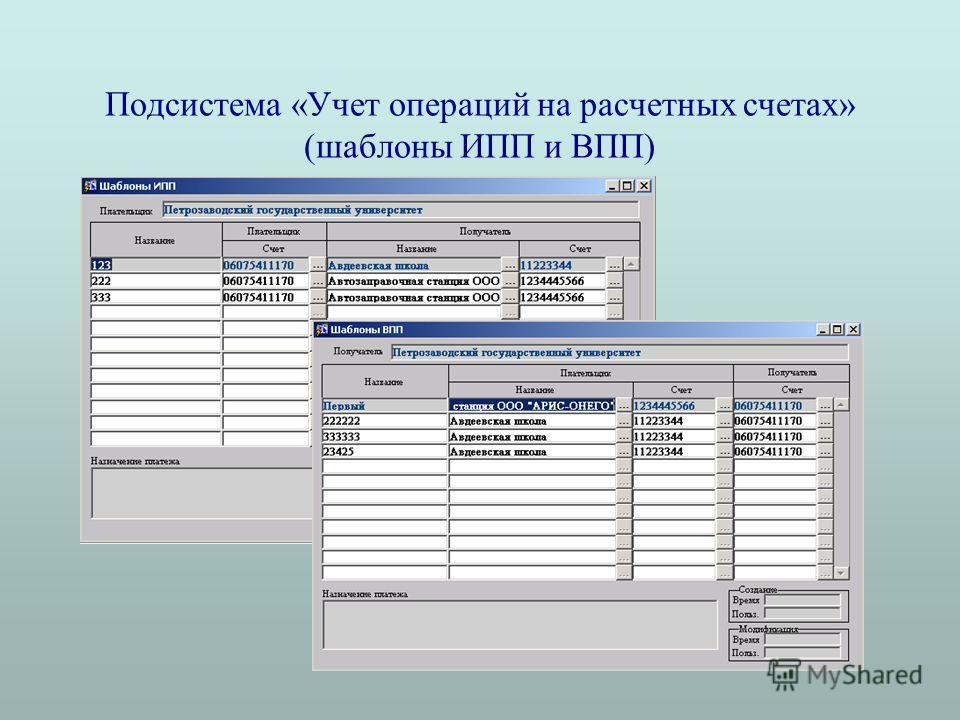 Подсистема «Учет операций на расчетных счетах» (шаблоны ИПП и ВПП)