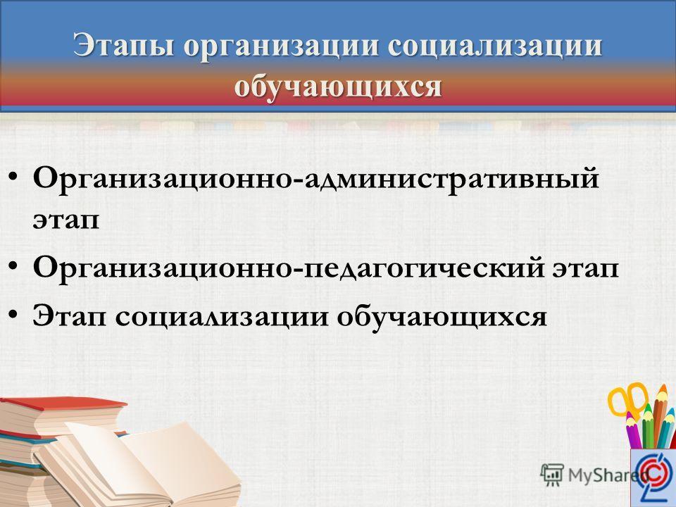 Организационно-административный этап Организационно-педагогический этап Этап социализации обучающихся Этапы организации социализации обучающихся
