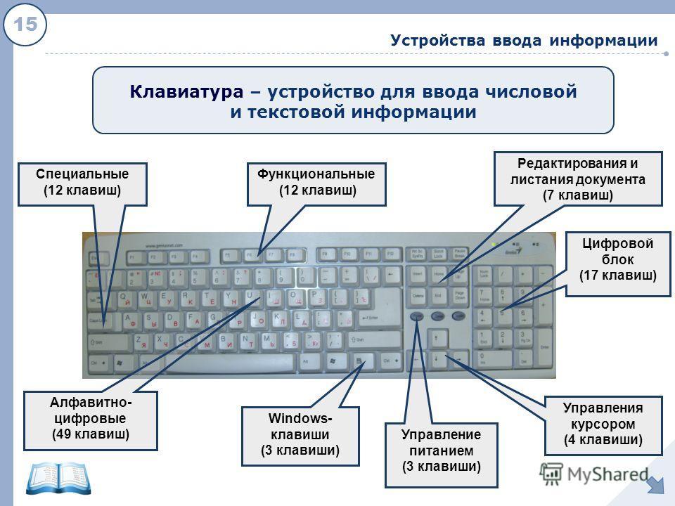 15 Устройства ввода информации Клавиатура – устройство для ввода числовой и текстовой информации Функциональные (12 клавиш) Windows- клавиши (3 клавиши) Управления курсором (4 клавиши) Редактирования и листания документа (7 клавиш) Цифровой блок (17