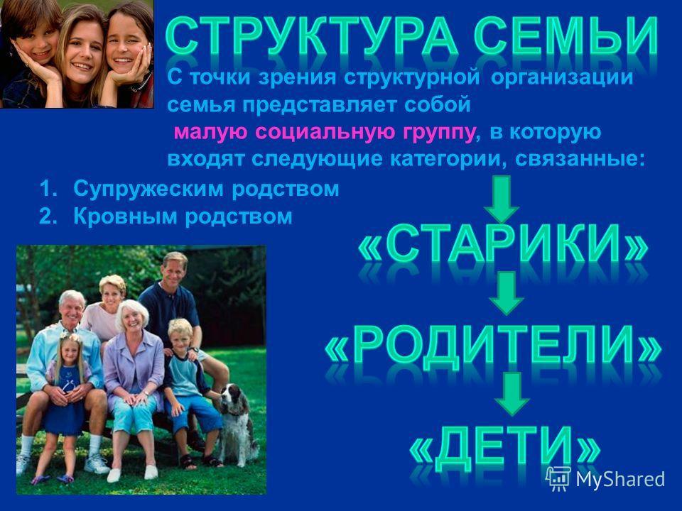 С точки зрения структурной организации семья представляет собой малую социальную группу, в которую входят следующие категории, связанные: 1.Супружеским родством 2.Кровным родством