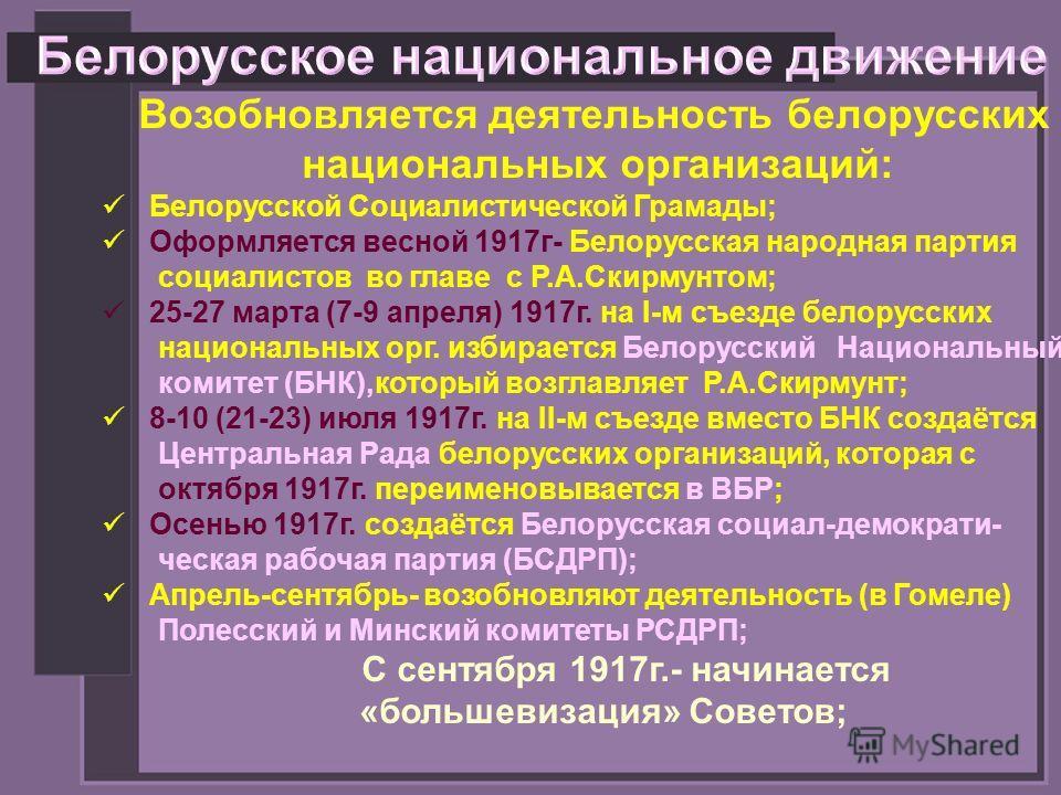 Возобновляется деятельность белорусских национальных организаций: Белорусской Социалистической Грамады; Оформляется весной 1917г- Белорусская народная партия социалистов во главе с Р.А.Скирмунтом; 25-27 марта (7-9 апреля) 1917г. на I-м съезде белорус